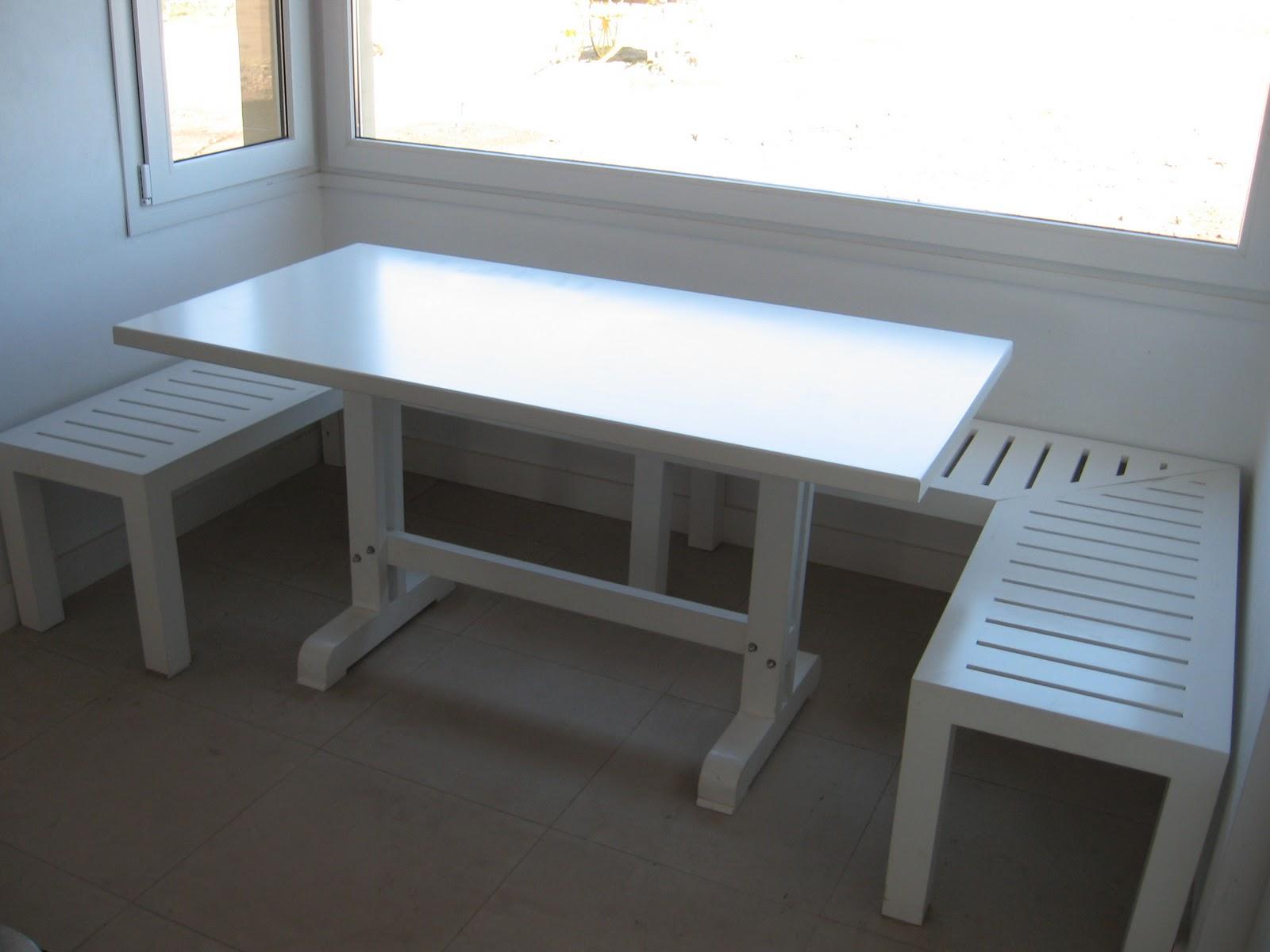 Mesa y banco comedor diario laqueados en blanco - Mesas para comedor diario ...
