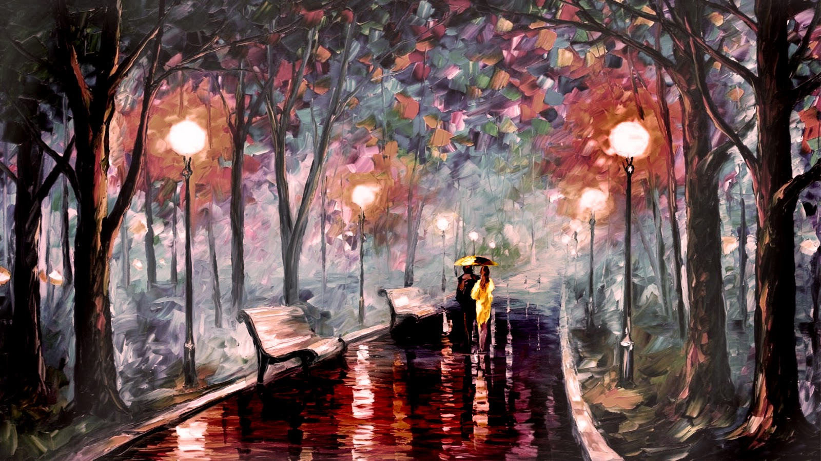 Drawing of a couple on a rainy day holding yellow umbrella