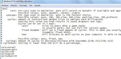 Configuración ciclos DOSBox