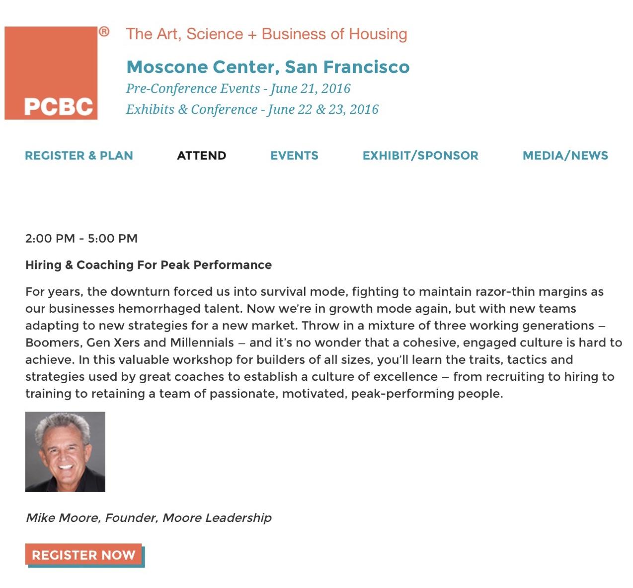 PCBC 2016 Pre-Conference Workshop