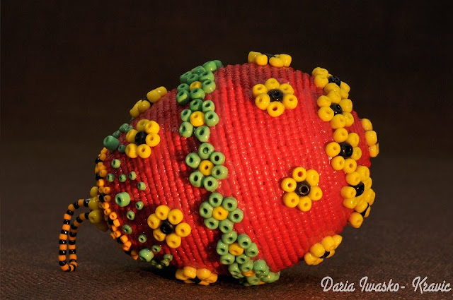 Beaded Easter Egg Made by Daria Iwasko USA Ukraine