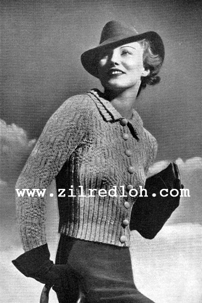 1930's Knitting - Double Collar Double Chic free pattern