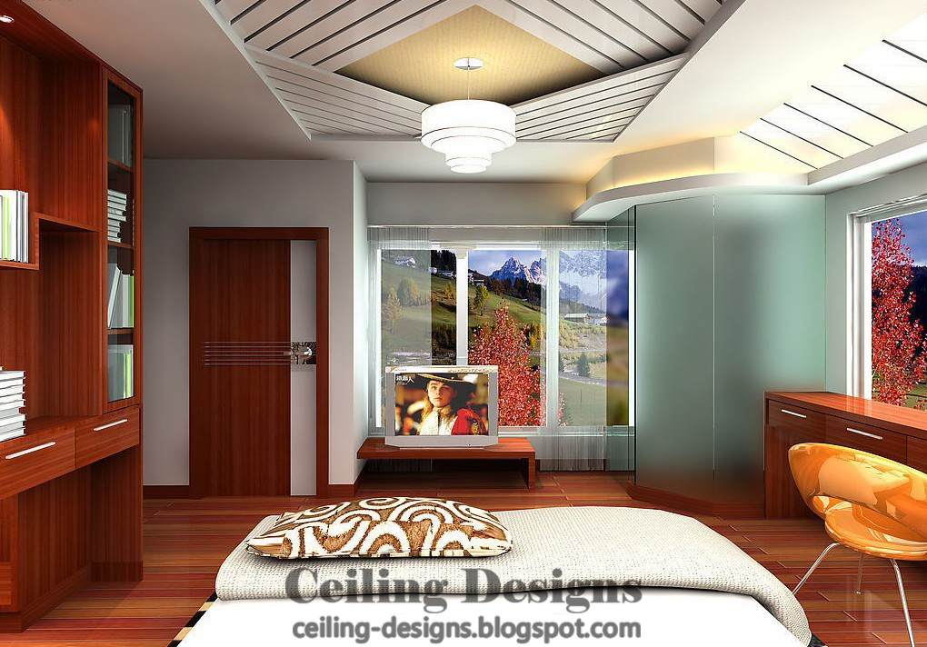 Charmant Gypsum False Ceiling Designs For Bedroom From, With Decorated Gypsum Panels  And Large Crystal Chandeliers