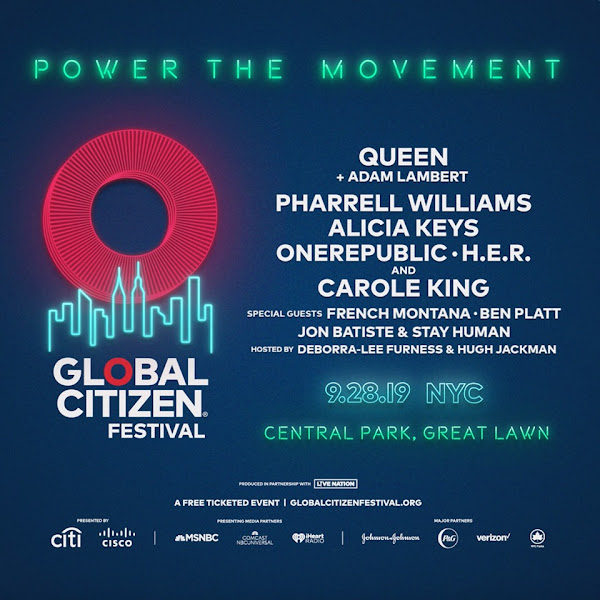 Queen y Adam Lambert en el Global Citizen Festival : Youtube, MSNBC, Twitter, iHeartRadio