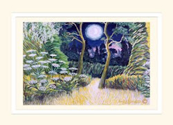The Circular Garden by Moonlight greeting card