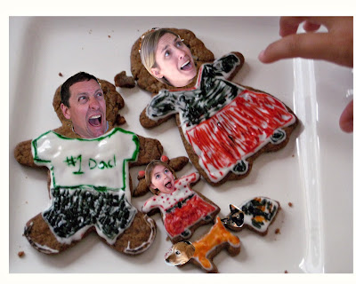 cookies decorated like people on plate