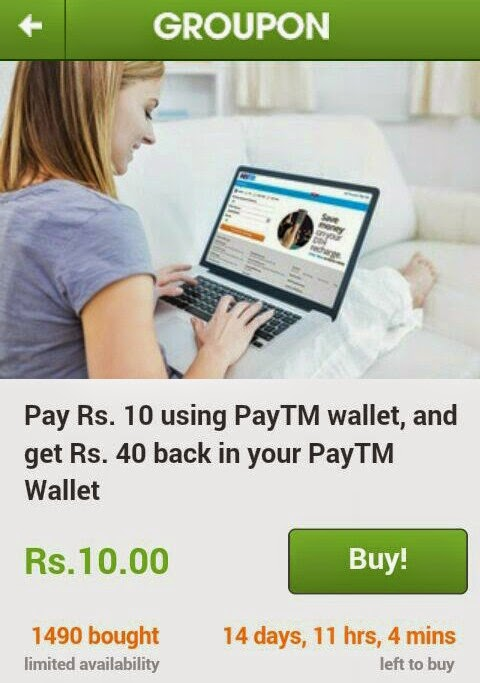 Paytm Wallet Offers : Pay Rs 10 and get Rs 40 Cashback