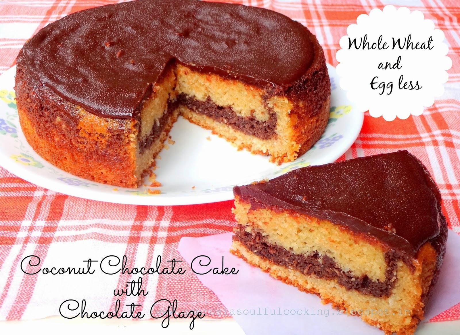 egg less coconut chocolate cake with chocolate glaze (whole wheat ...
