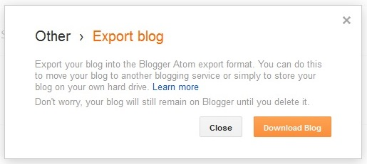 blog export dialogue box