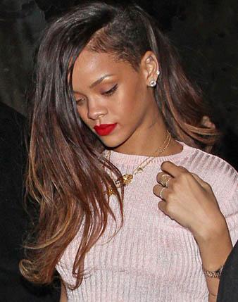 Rihanna kahverengi balyaj ve kazınmış saçlar
