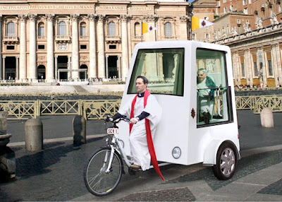 pedal-powered Popemobile
