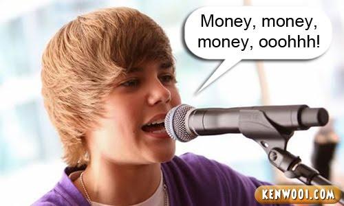 justin bieber money