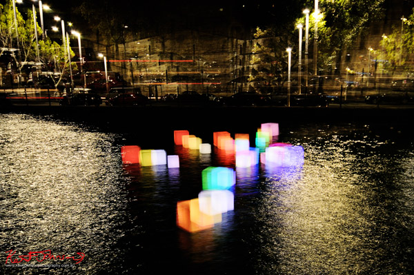 Light Cubes in water,  Walsh Bay, Vivid Sydney