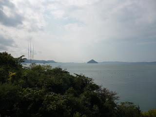 View of Naoshima coast and looking out over Seto Inland sea from the Benesse House restaurant.