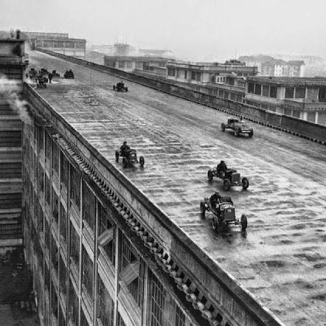 Fiat Lingotto factory in Turin, Italy with a test track on the roof.