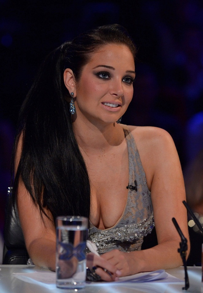 Tulisa Contostavlos Shows Extreme Cleavage at The X Factor Live in London