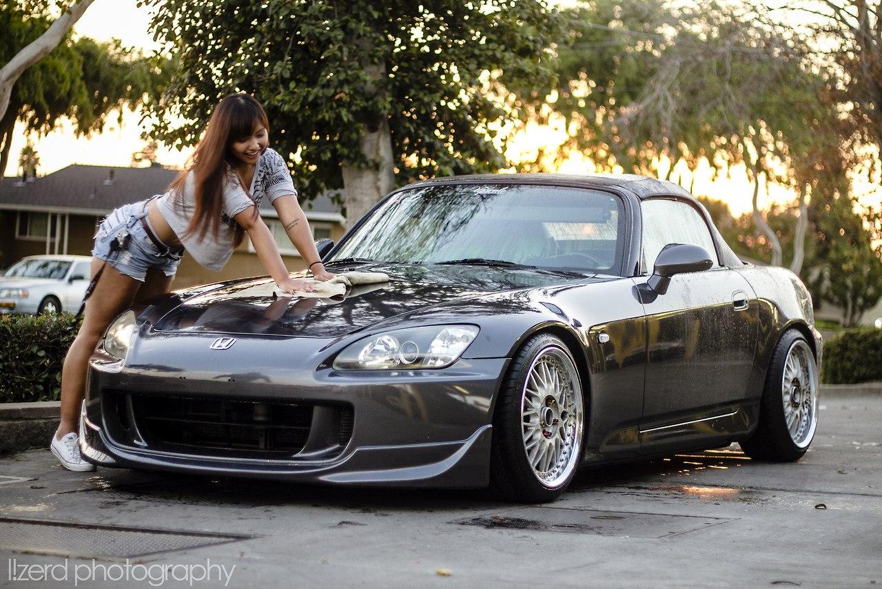 dziewczyna i auto, pozuje, modelka, japońskie fury, honda s2000, vtec