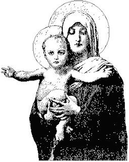 Grafico de punto de cruz de la Virgen y Niño Jesus en color negro y blanco