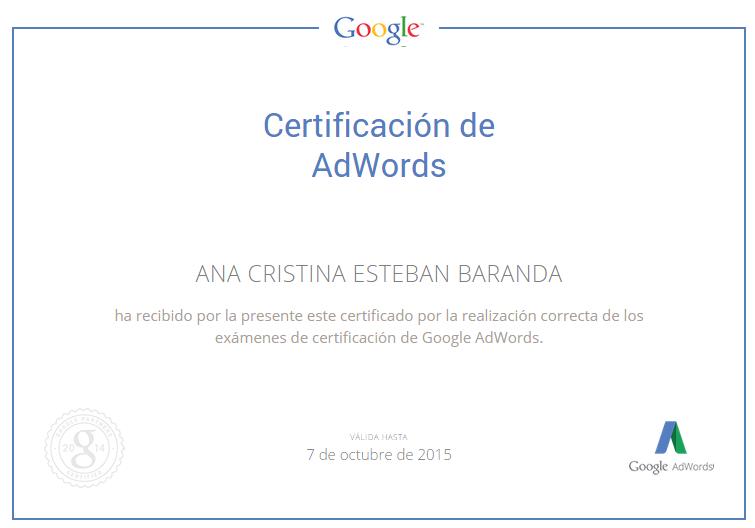 Certificado Google Adwords