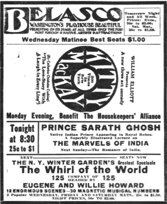 Advertisement for Prince Sarath Ghosh's lecture at the Belasco theatre, Washington