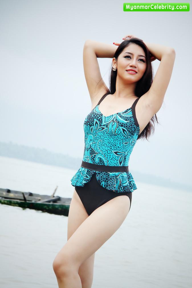 Myanmar 2015 finalists swimwear fashion on beach myanmar model