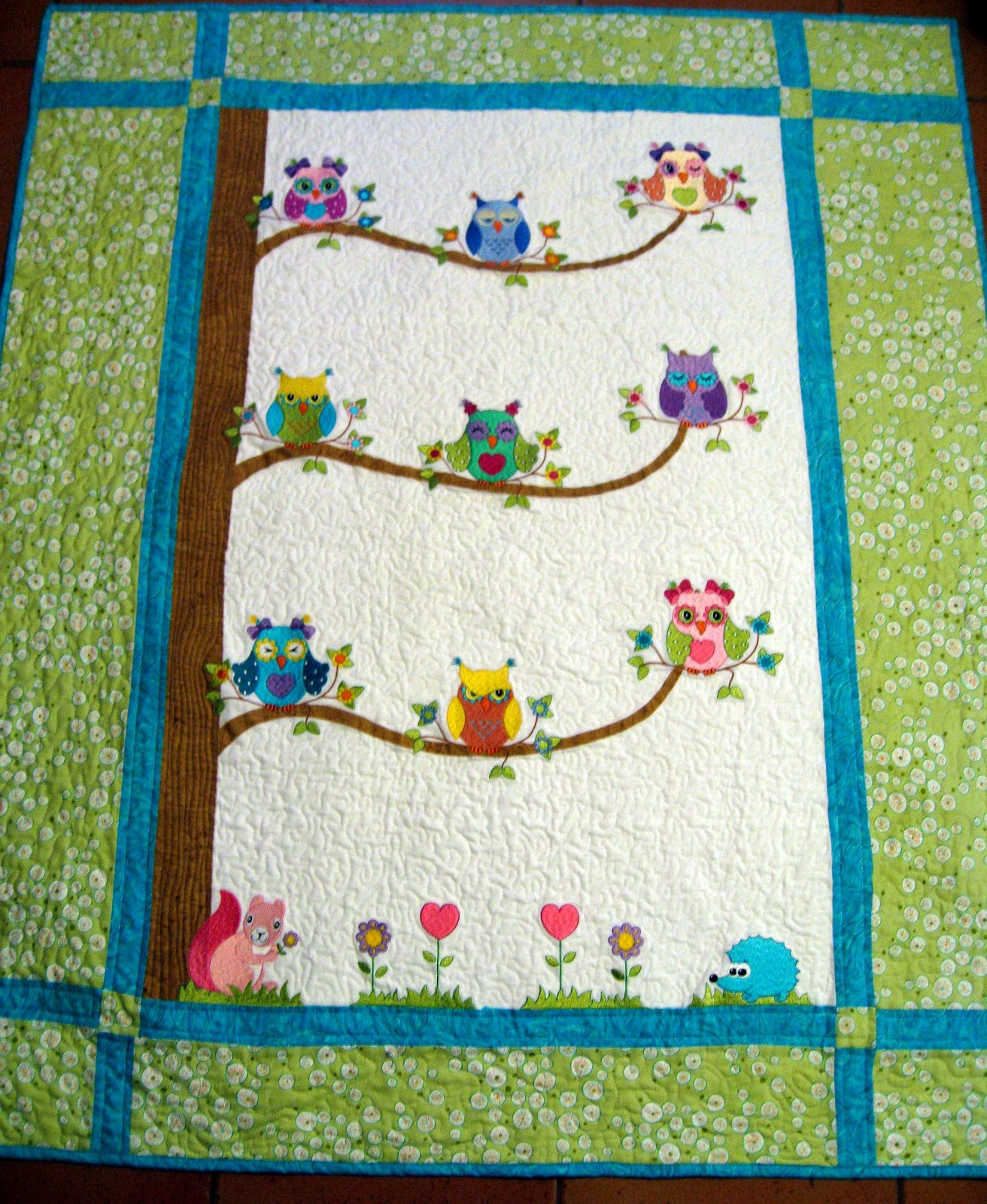 Vicki's Fabric Creations: Owl Quilt Finished : owl quilt patterns - Adamdwight.com