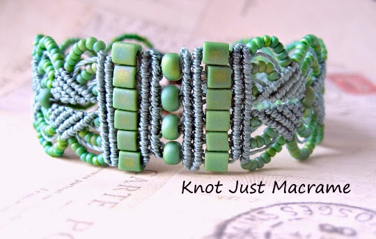 Leaves bracelet in sage green by Knot Just Macrame.