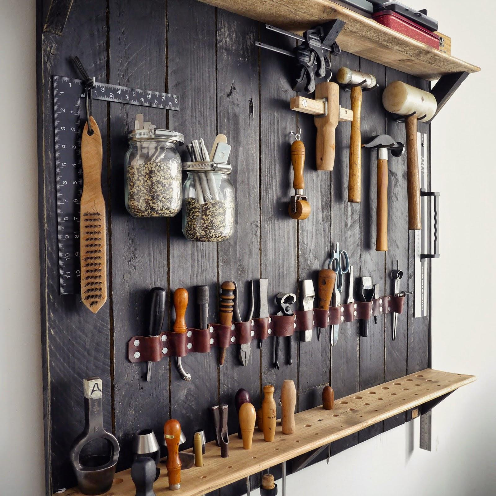 Kingsley leather how 39 s it hanging my new tool rack - Organizador de herramientas ...