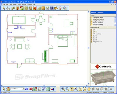 Another interior design software is Microspot Interiors. This software