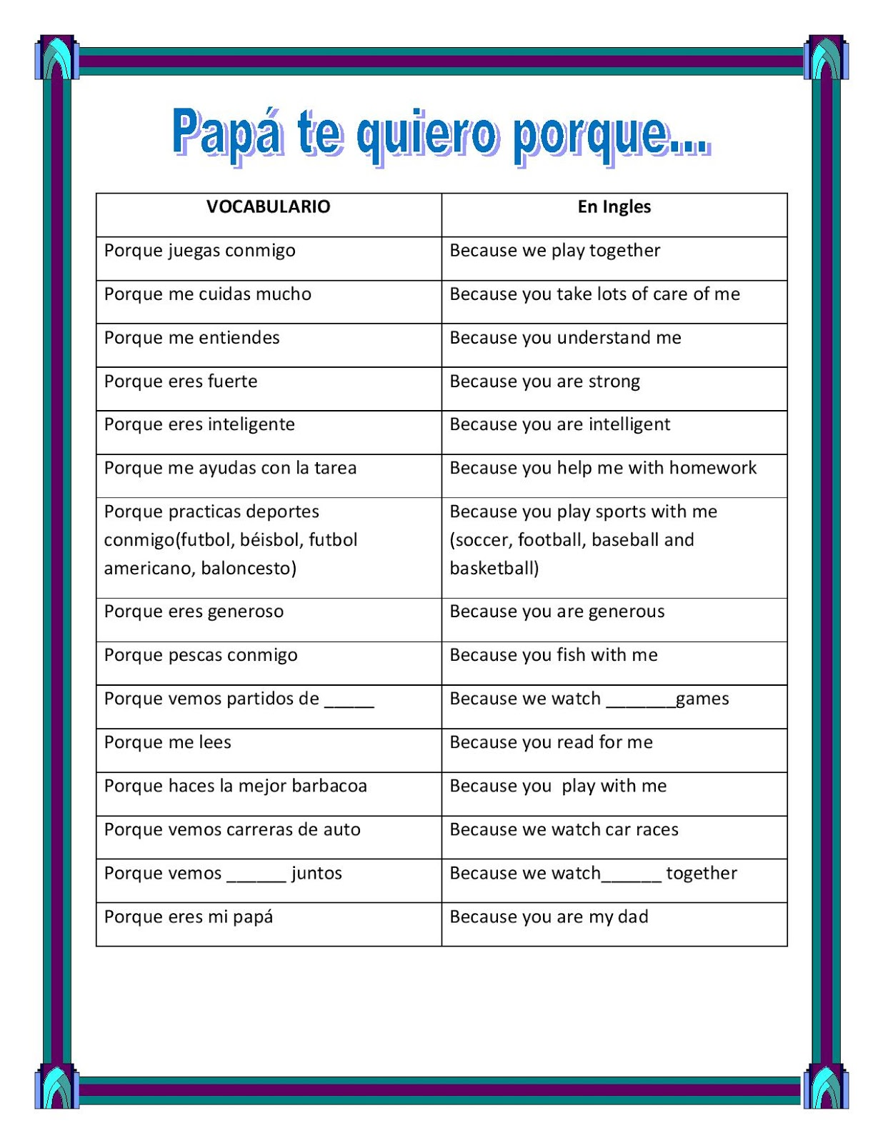 The best of teacher entrepreneurs iii spanish fathers day have students write on the back of the card the phrases they selected they need to select at least eight of the sentences they have to copy them to the m4hsunfo