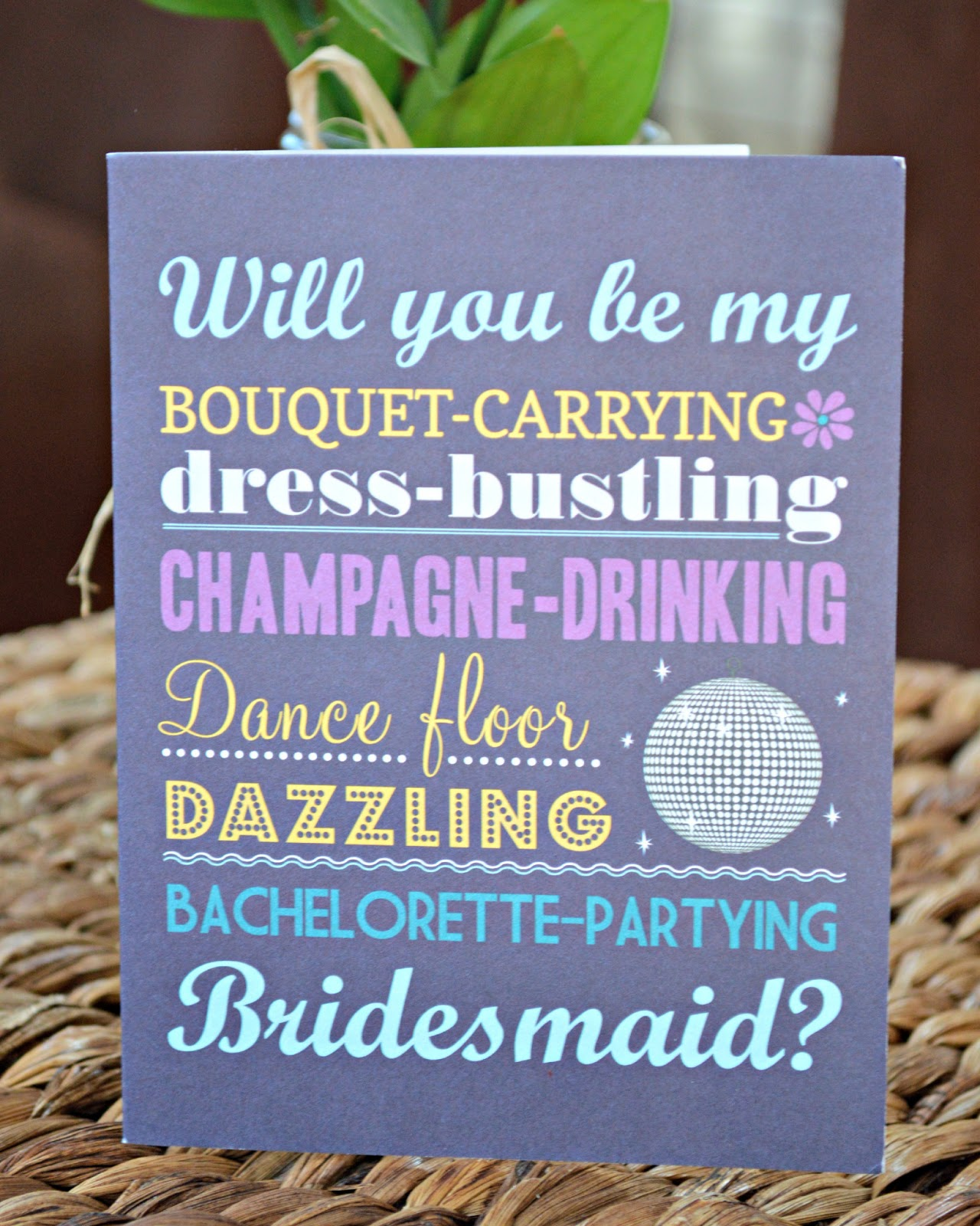 """Inspired I Dos: Graphic Fonts """"Will You Be My Bridesmaid"""" Card"""