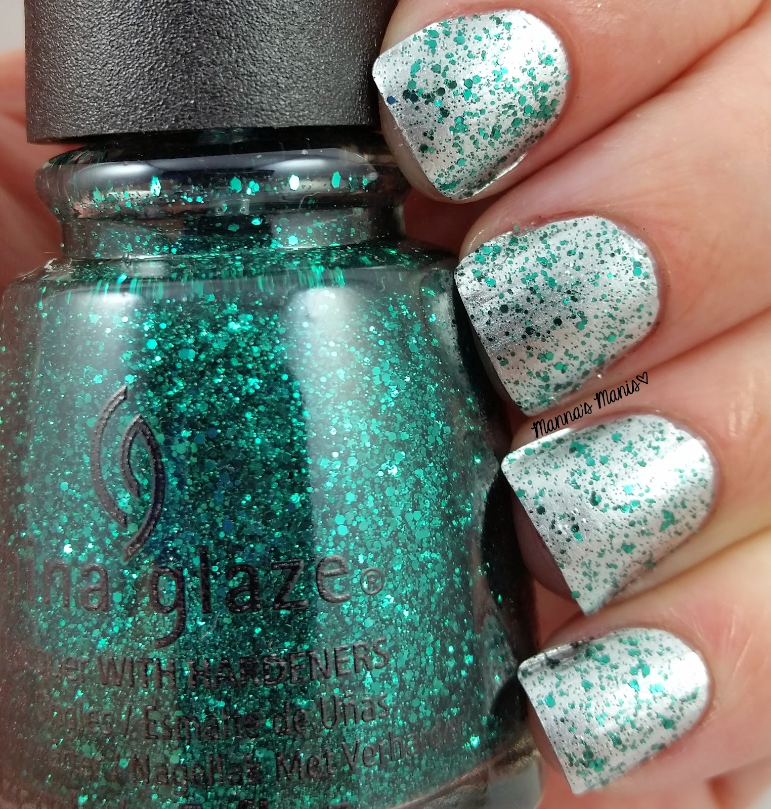 china glaze pineing for glitter, a green glitter nail polish