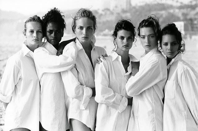 Estelle Lefebure, Karen Alexander, Rachel Williams, Linda Evangelista, Tatjana Patiz & Christy Turlington by Peter Lindbergh 1988