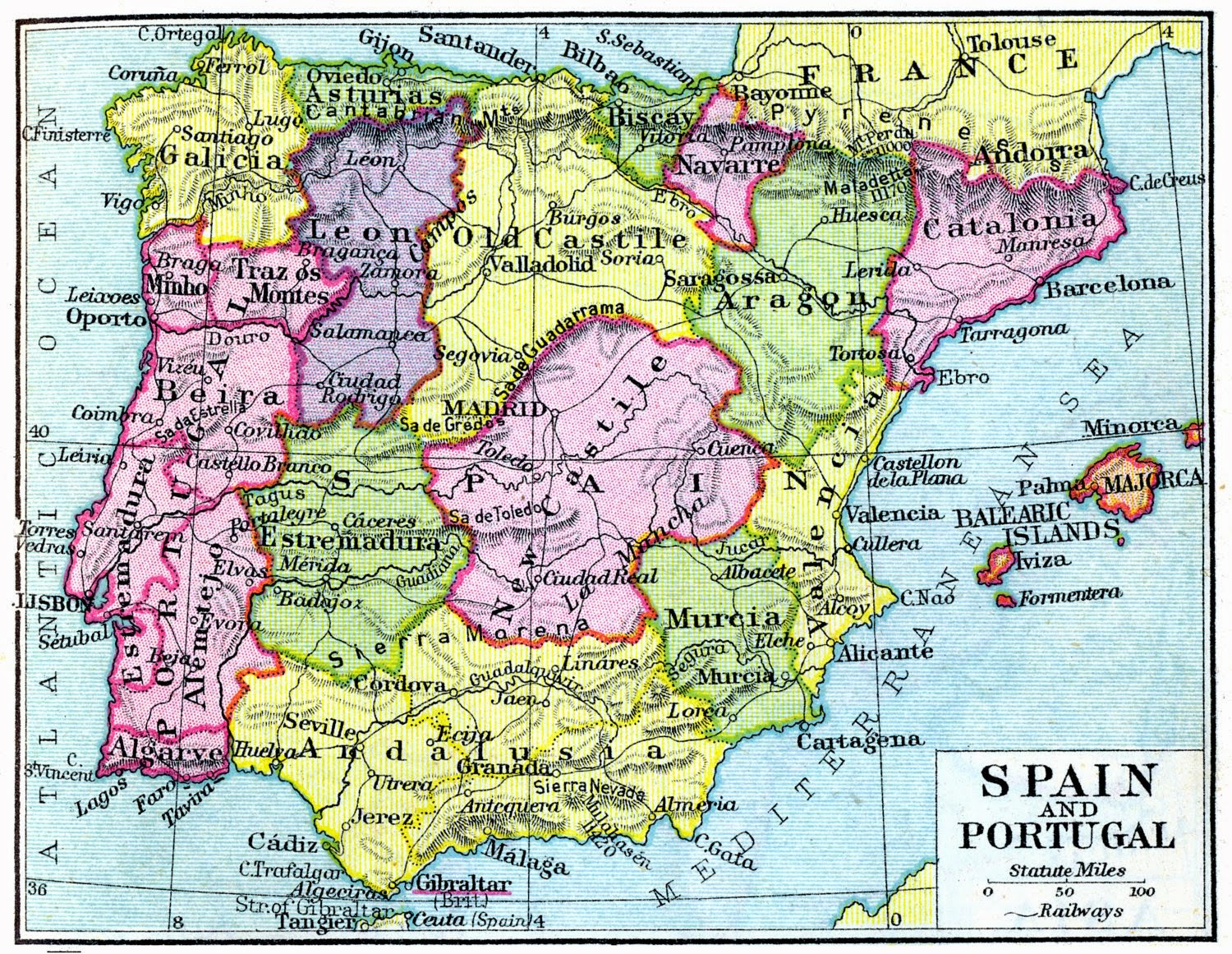 Mapa de España 1926 Alexander Keith Johnston
