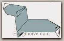 Bước 20: Gấp hai mép giấy vào trong giữa hai lớp giấy.