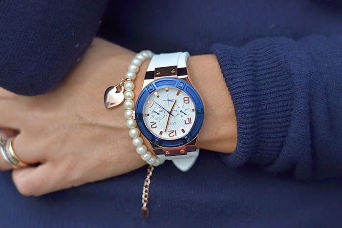 orologio guess bianco blu