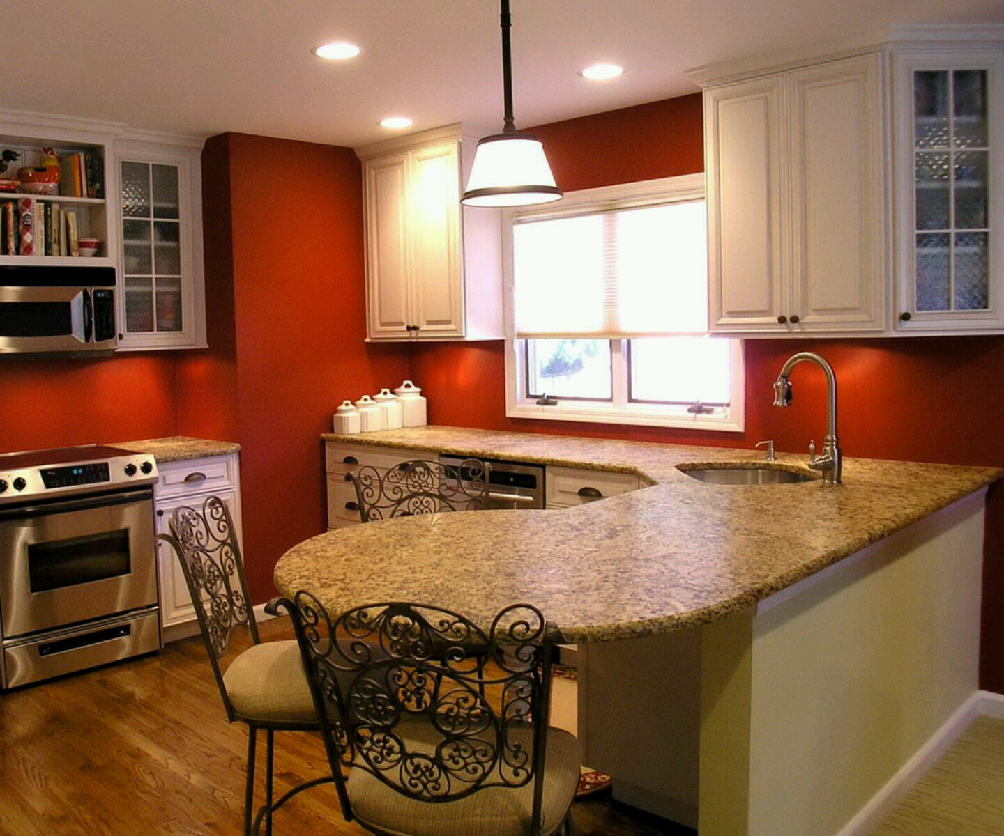 Black and Red Walls Kitchen Cabinets