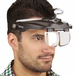 Hobby Magnifier Carson Optical Pro Series MagniVisor Deluxe Head-Worn LED Lighted Magnifier with 4 Different Lenses