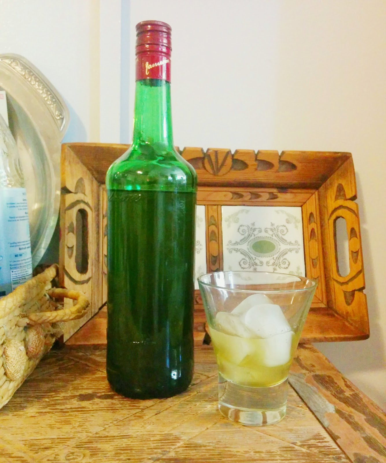 Homemade Creme De Menthe Liqueur stored in an old Jameson bottle and ...
