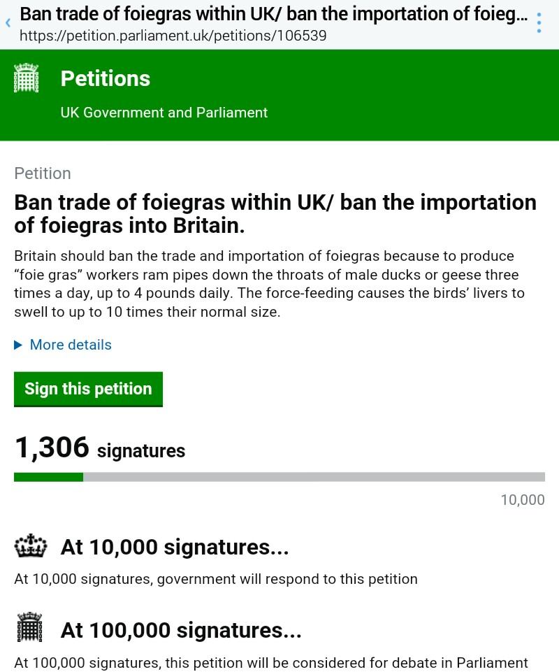 Ban Foie gras in the UK
