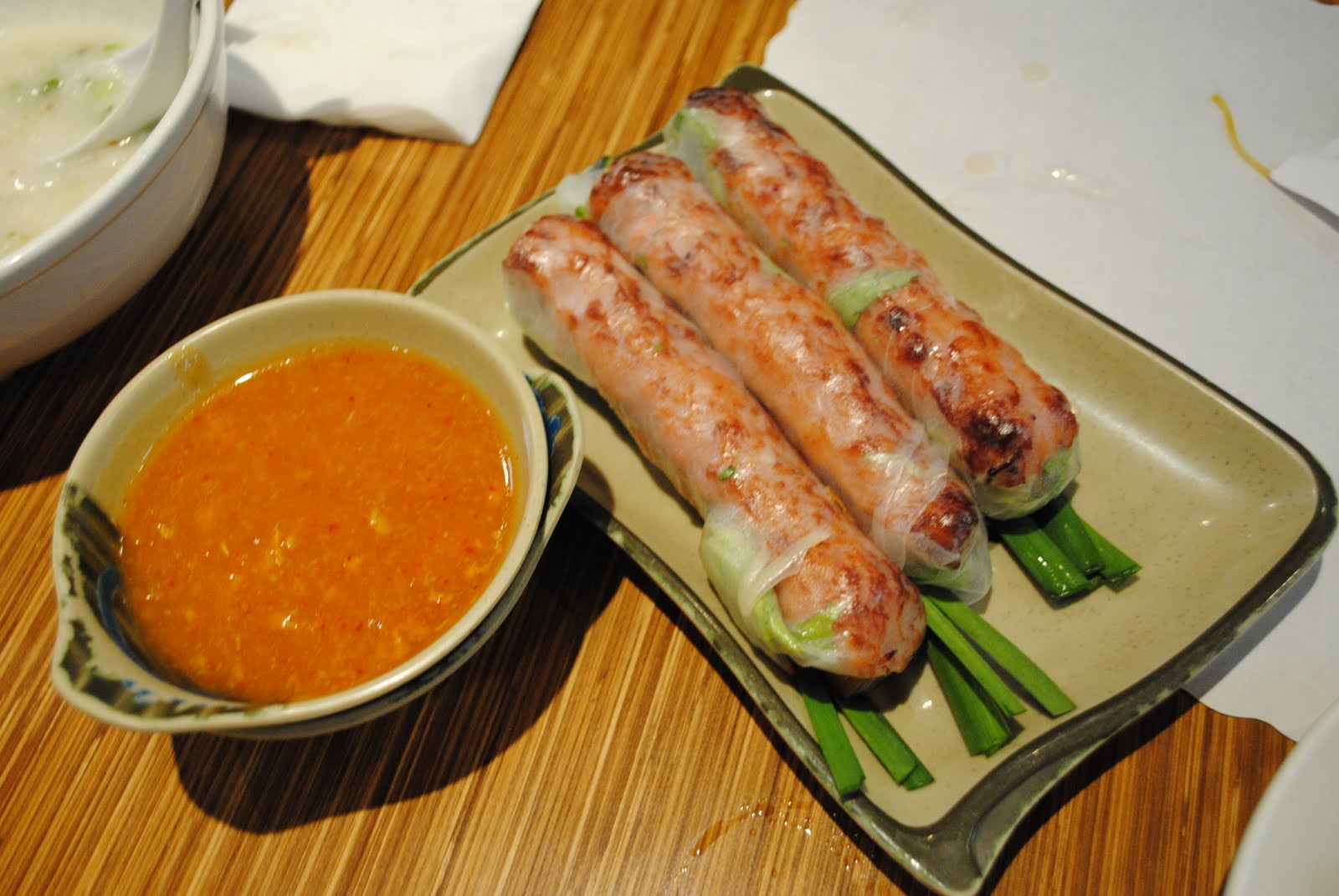 Nem Nuong Cuon (pork spring rolls of grilled pork paste wrapped in ...
