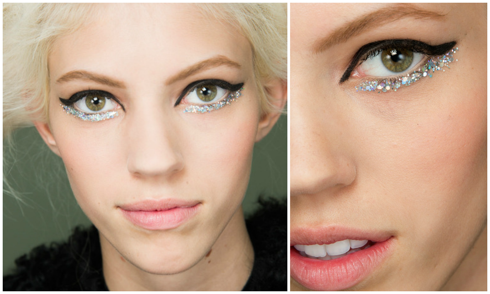Silver glitter, winged eyeliner, Chanel, couture, SS 2014, summer spring,