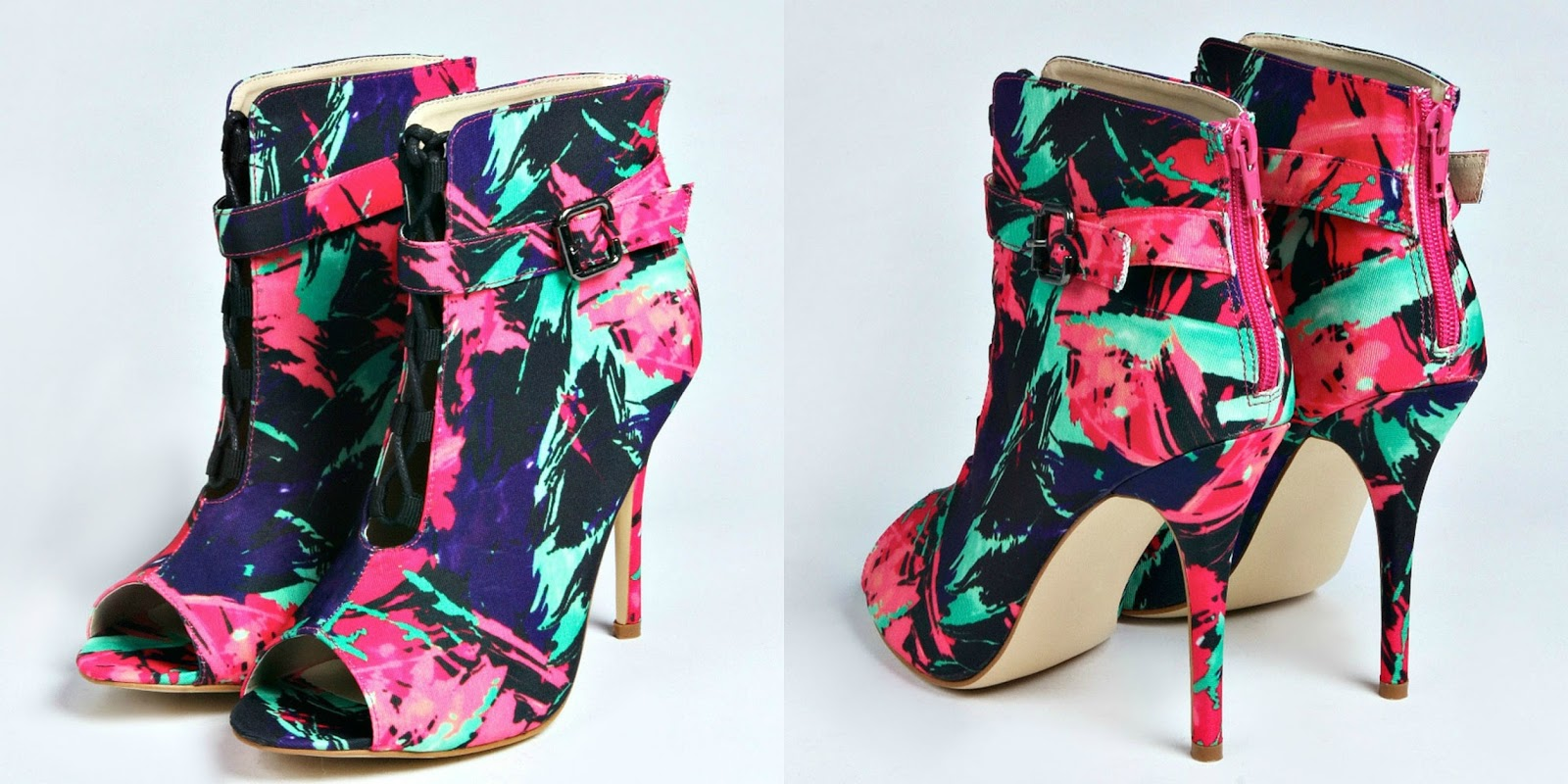 Boohoo Roxy Printed Lace & Buckle Peep Toe Boot