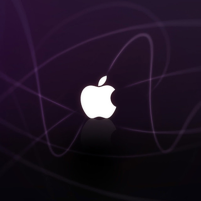 iPad Wallpaper - Apple Logo Purple Waves