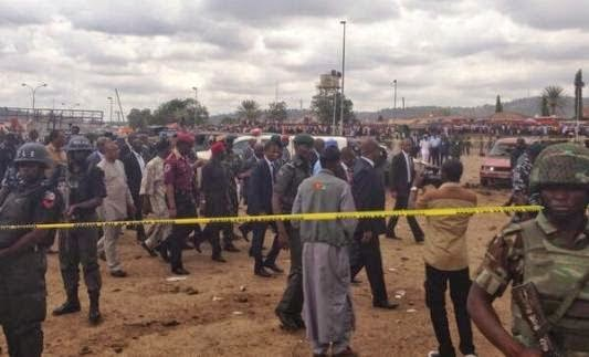 Pictures President Jonathan Cancels Trip to Ibadan, Visits Bomb Blast Scene