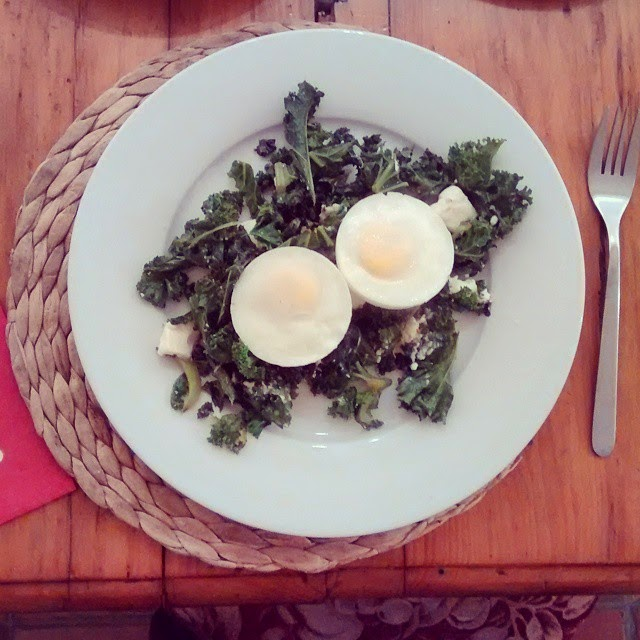 Kale and poached eggs