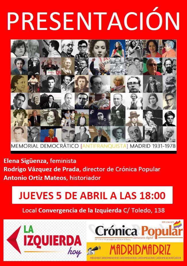 5 de Abril Presentación Memorial Democrático Madrid