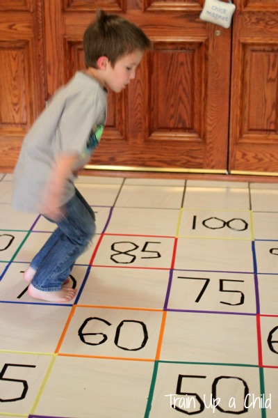 Gross motor activity to practice skip counting learn for Indoor large motor activities for toddlers
