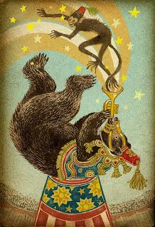 circus bear and monkey illustration by yuko shimizu