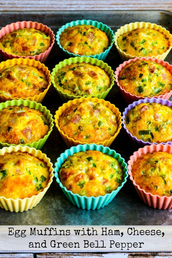 Low-Carb Egg Muffins with Ham, Cheese, and Green Bell Pepper found on KalynsKitchen.com